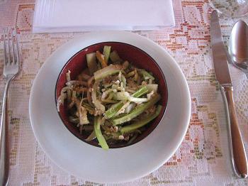 Salada de aipo e erva-doce com raspas de laranja