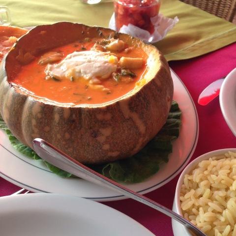 Jerimum com peixe ao coco na Oficina do Sabor, em Olinda