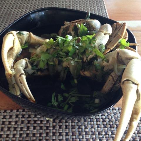 'Gaiamum' cozido com cebola e coentro, no restaurante Guaiamum Gigante, em Boa Viagem