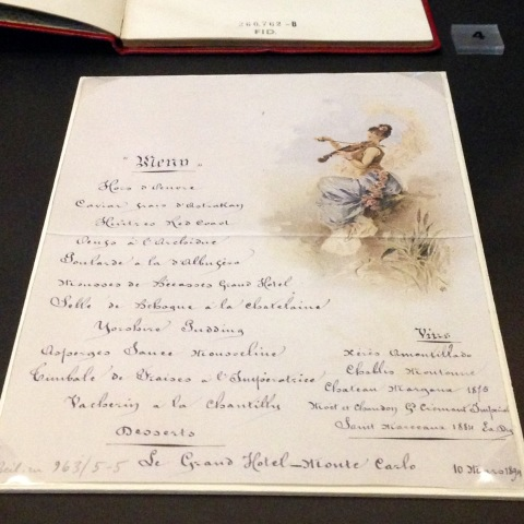 Cardápio de 1839 para um jantar do rei da Áustria em uma viagem, na Biblioteca Nacional da Áustria.